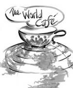 """Kaffetasse mit dem Schriftzug """"Worldcafe"""""""
