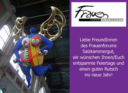 Weihnachtskarte des FFS mit Weihnachts- und Neujahrswünschen rechts, links ein dicker Engel in einer Kirche.