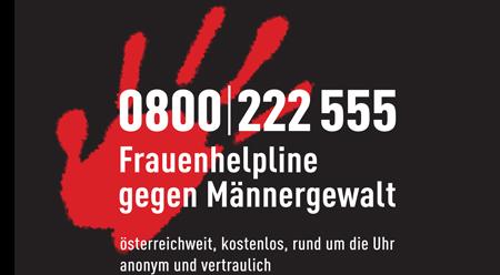 Rote Hand auf schwarzem Hintergrund - 0800/222555 - Frauenhelpline.