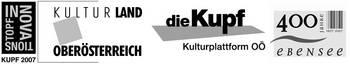 Logos der Fördergeber: Kupf, Kultruland OÖ, Gemeinde Ebensee.